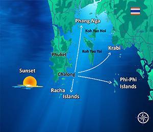 Map Sunset Searunnerspeedboat Phuket