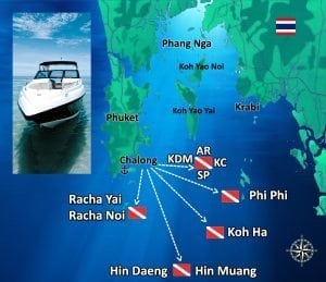 CARTE SITES DE PLONGEE PHUKET - Searunnerspeedboat.com